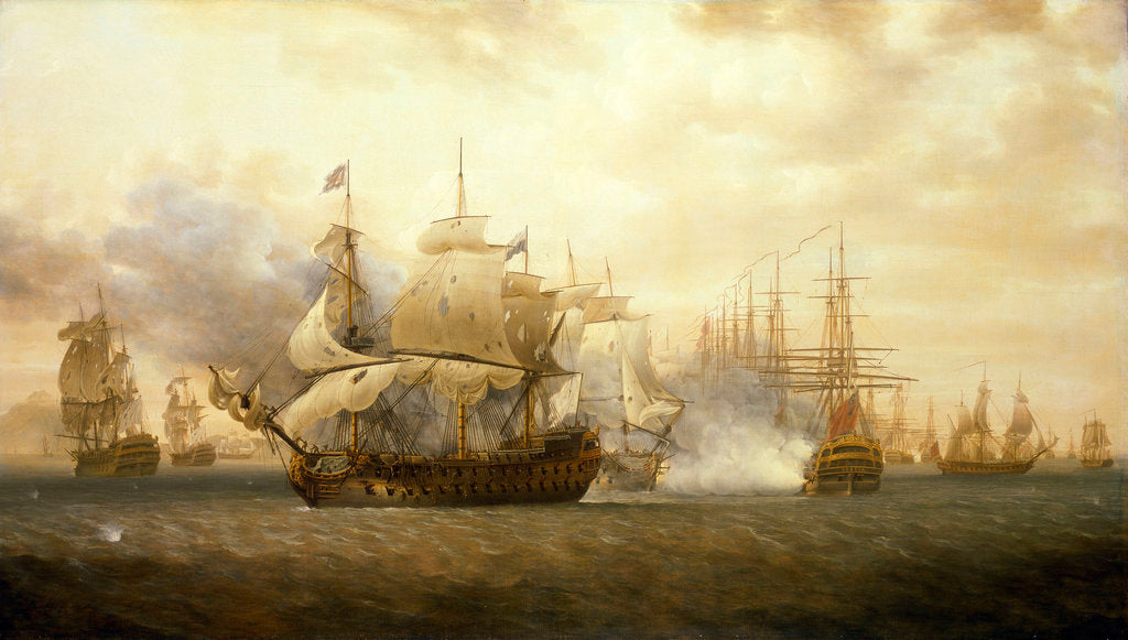 Detail of The Battle of Frigate Bay, 26 January 1782 by Nicholas Pocock