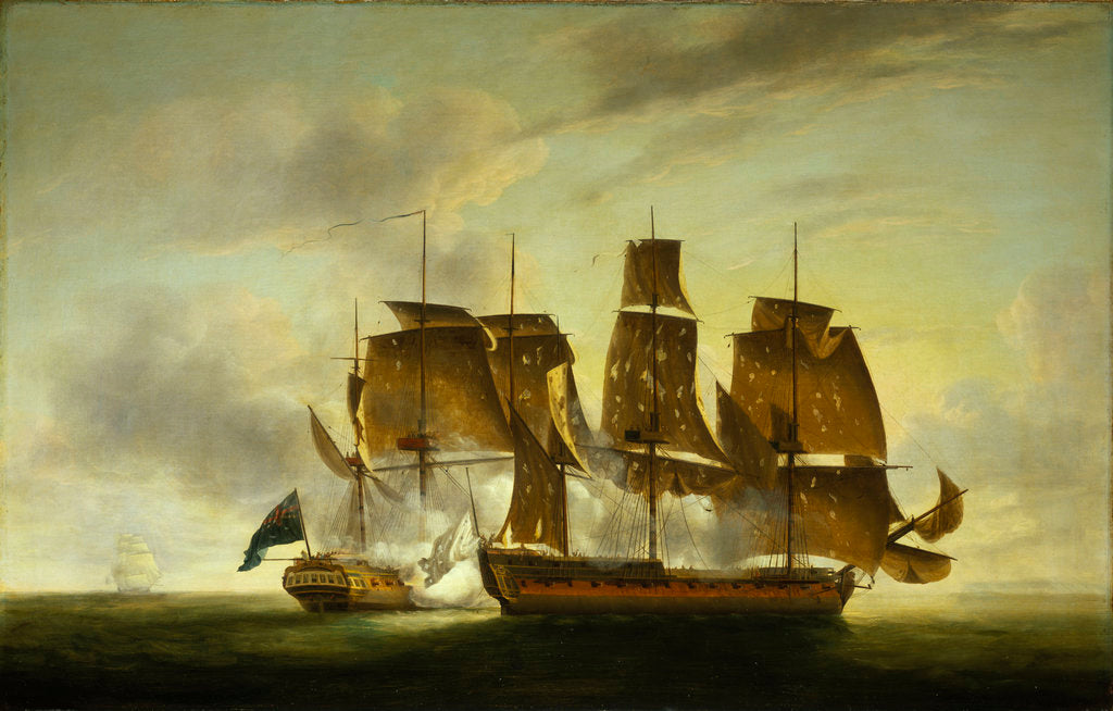 Detail of The capture of the 'Amazone' by HMS 'Santa Margarita', 29 July 1782 by Robert Dodd