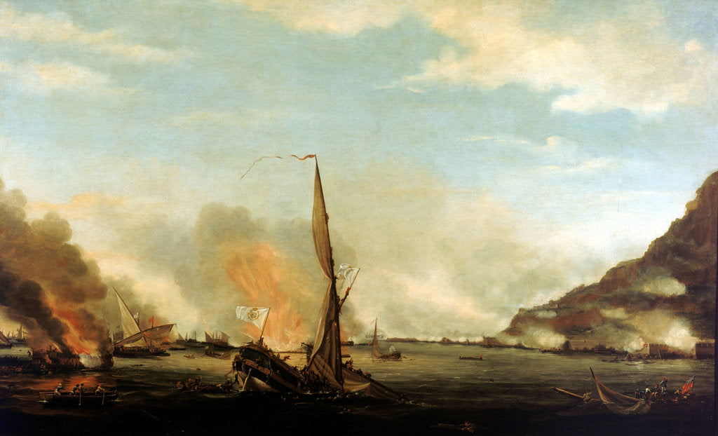 Detail of Destruction of the floating batteries at Gibraltar, 13 September 1782 by Thomas Whitcombe