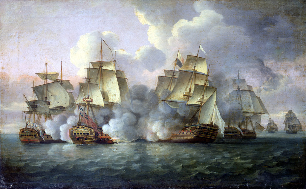 Detail of HMS 'Mediator' engaging French and American vessels, 11-12 December 1782 by Thomas Luny