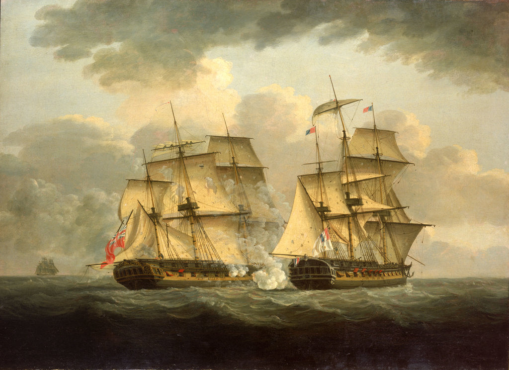 Detail of Action between HMS 'Venus' and the 'Semillante', 27 May 1793 by Thomas Elliott