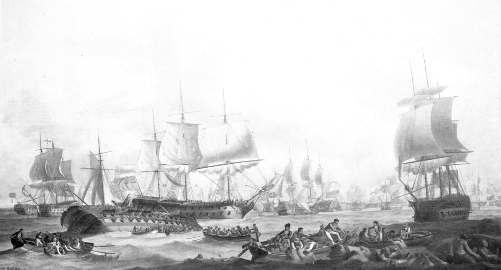 Detail of The Battle of the First of June, 1794 by Robert Dodd