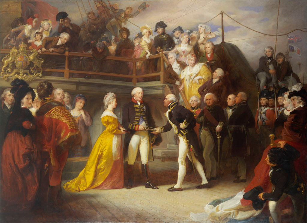 Detail of Visit of George III to Howe's Flagship, the 'Queen Charlotte', 26 June 1794 by Henry Perronet Briggs