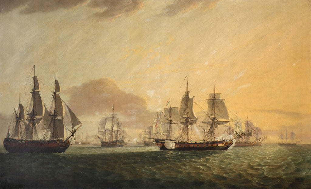 Detail of The East Indiaman 'General Goddard' capturing Dutch East Indiamen, June 1795 by Thomas Luny