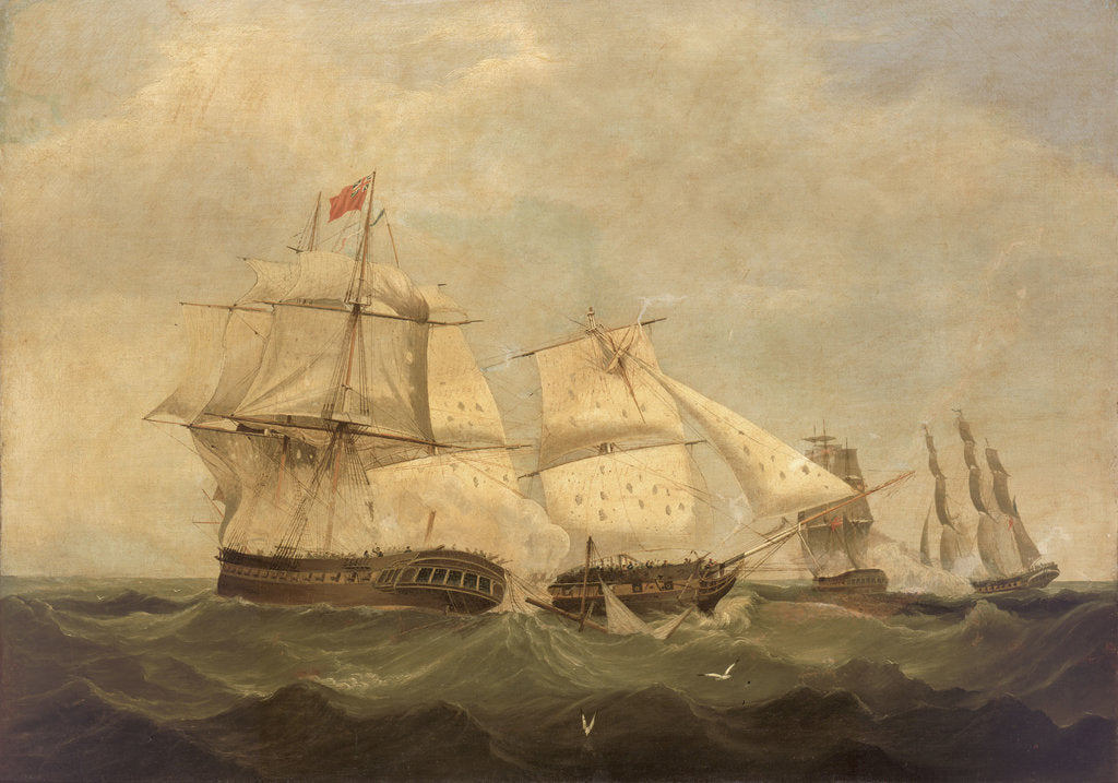Detail of HMS 'Dido' and 'Lowestoft' in action with 'Minerve' and 'Artemise', 24 June 1795 by unknown