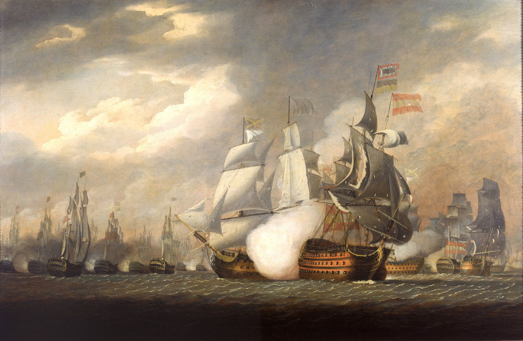 Detail of The 'Victory' raking the Spanish 'Salvador del Mundo' at the Battle of Cape St Vincent, 14 February 1797 by Robert Cleveley