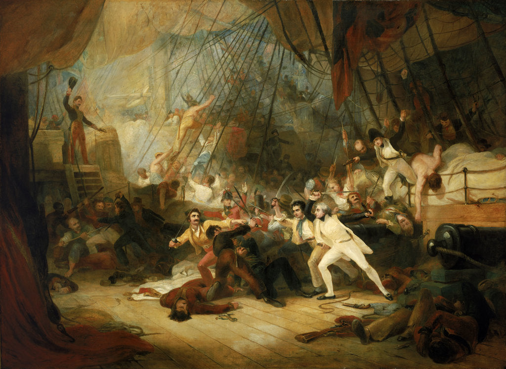 Detail of Nelson boarding the 'San Josef' at the Battle of Cape St Vincent, 14 February 1797 by George Jones