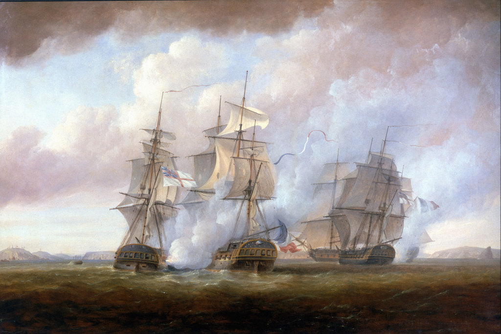 Detail of The capture of the 'Resistance' and 'Constance' by HMS 'San Fiorenzo' and 'Nymphe', 9 March 1797 by Nicholas Pocock