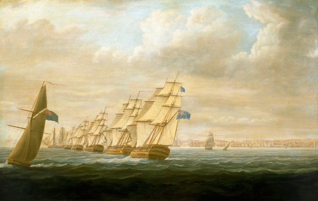 Detail of Nelson's inshore blockading squadron at Cadiz, July 1797 by Thomas Buttersworth