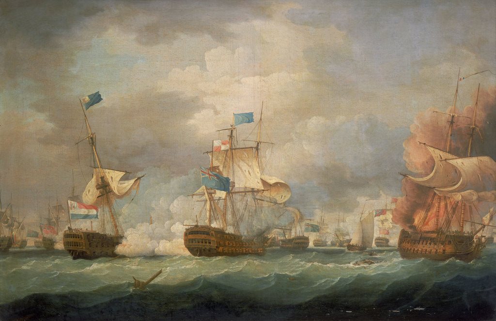 Detail of The Battle of Camperdown, 11 October 1797 by Thomas Whitcombe