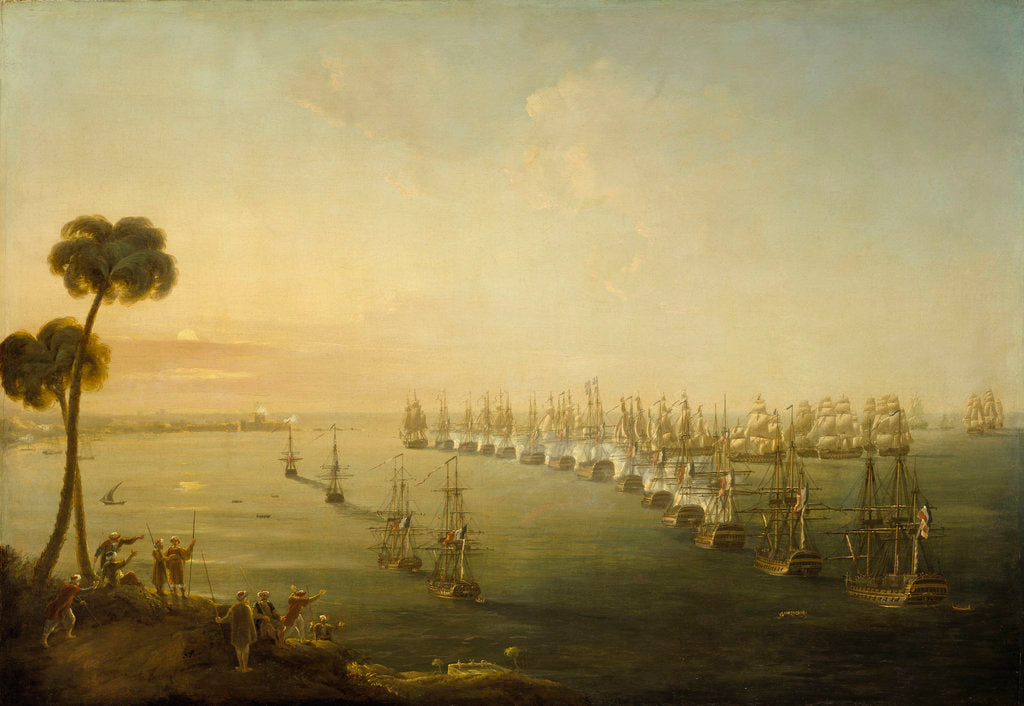 Detail of The Battle of the Nile, 1 August 1798 by Nicholas Pocock