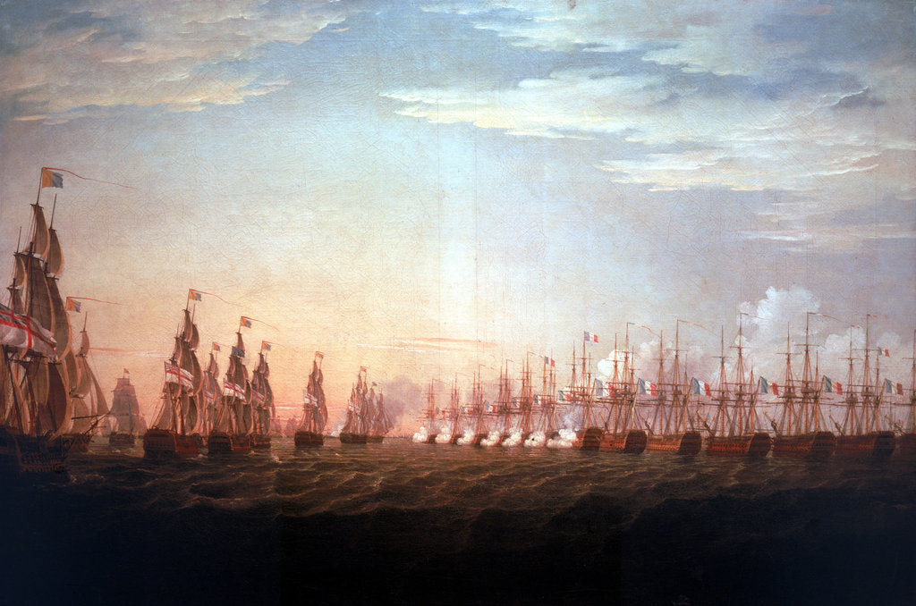Detail of The Battle of the Nile, 1 August 1798, beginning of the action by Thomas Whitcombe