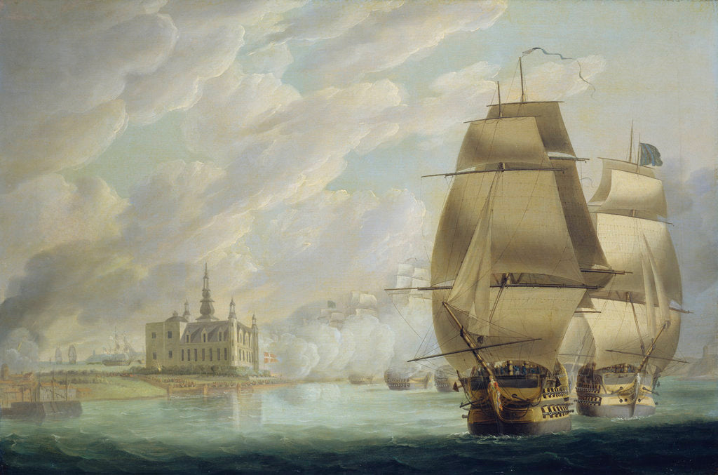 Detail of Nelson forcing the passage of the sound, 30 March 1801, prior to the Battle of Copenhagen by Robert Dodd