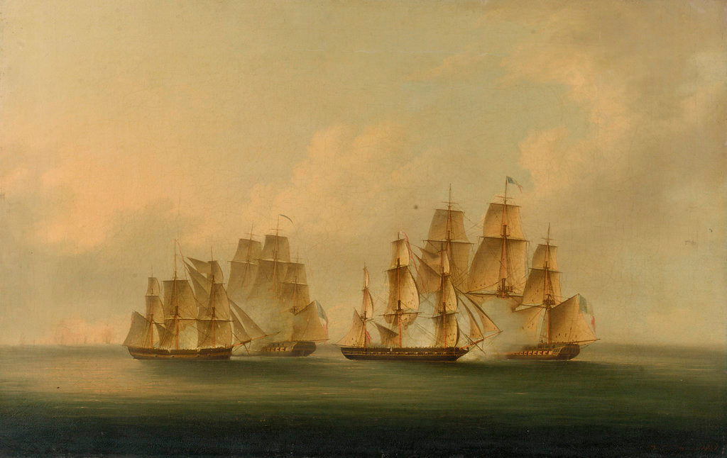 Detail of Action of HMS 'Arrow' and 'Acheron' against the French frigates 'Hortens'e and 'Incorruptible': beginning of the action, 4 February 1805 by Francis Sartorius
