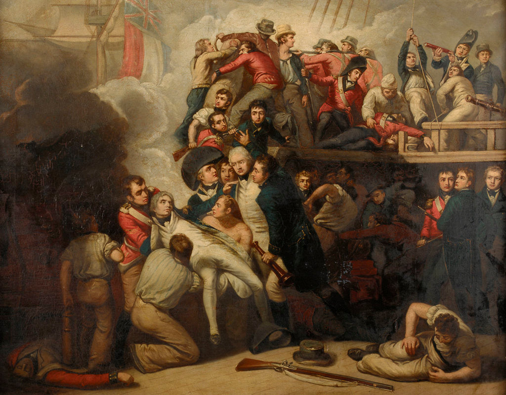 Detail of The death of Nelson at the Battle of Trafalgar, 21 October 1805 by Samuel Drummond