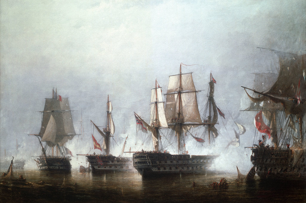 Detail of The Battle of Trafalgar, 21 October 1805 by Richard Henry Nibbs