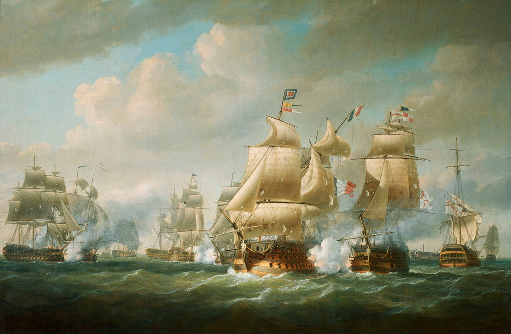 Detail of Duckworth's action off San Domingo, 6 February 1806 by Nicholas Pocock