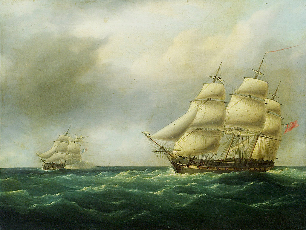 Detail of Action between HMS 'Hydra' and 'Furet', 27 February 1806 by British School