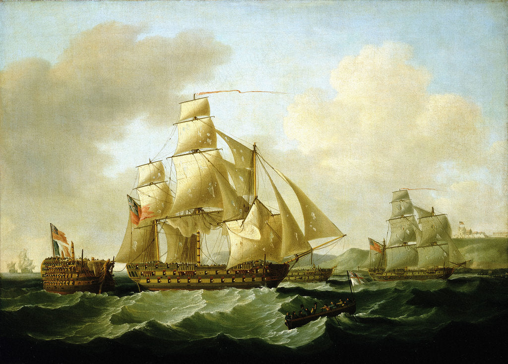 Detail of Strachan's action off Rochefort, 25 September 1806: bringing Home the Prizes by Francis Sartorius