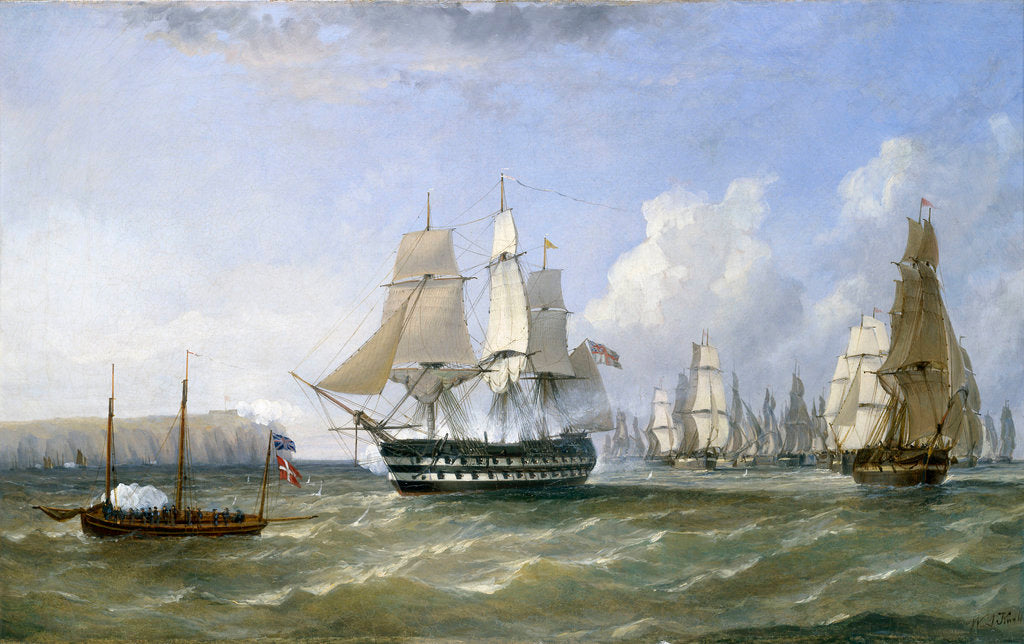 Detail of HMS 'Warrior' protecting a convoy passing Reefness, September 1807 by William Adolphus Knell