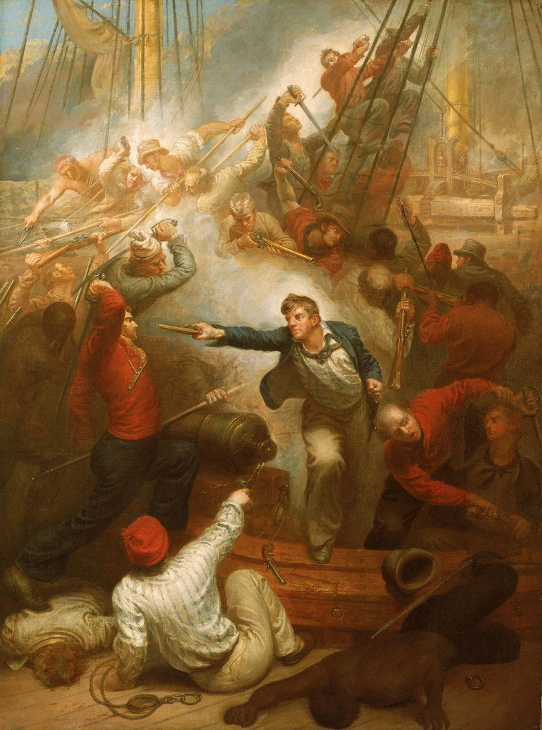 Detail of Captain William Rogers capturing the 'Jeune Richard', 1October 1807 by Samuel Drummond