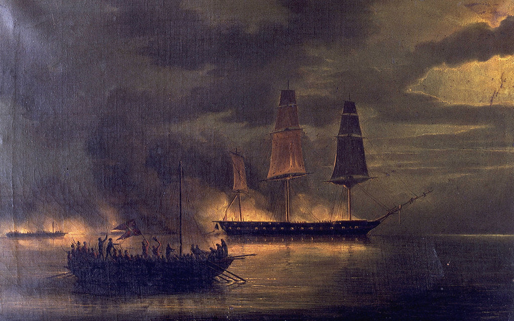 Detail of HMS 'Melpomene' engaged with 20 Danish gunboats, 23 May 1809 by British School