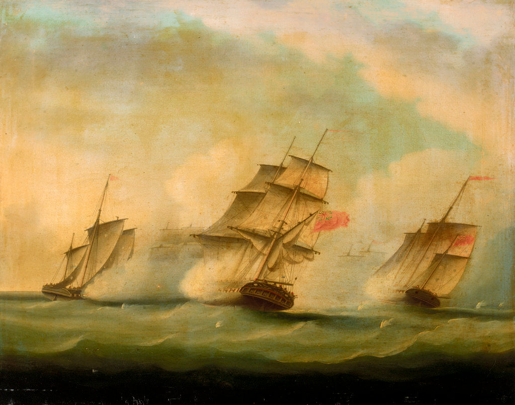 Detail of HMS 'Lynx' and 'Monkey' capturing three Danish luggers, 12 August 1809 by British School