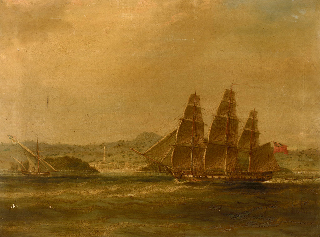 Detail of HMS 'Mercury' takes 'La Pugliese' in Barletta, 7 September 1809 by William John Huggins