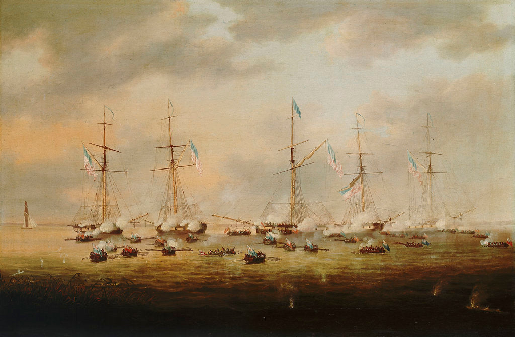 Detail of British and American gunboats in action on Lake Borgne, 14 December 1814 by Thomas Lyde Hornbrook