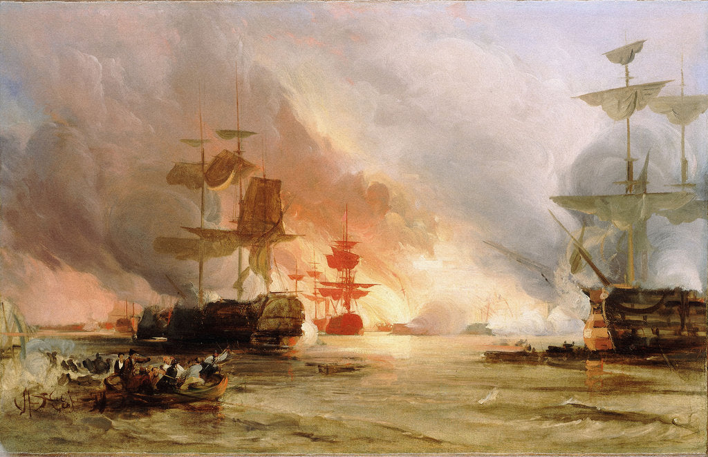 Detail of The bombardment of Algiers, 27 August 1816 by George Chambers
