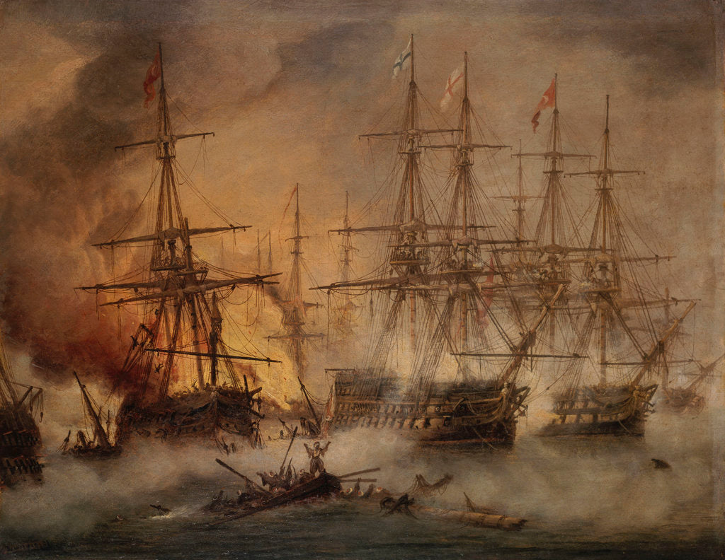 Detail of The Battle of Navarino, 20 October 1827 by Thomas Luny