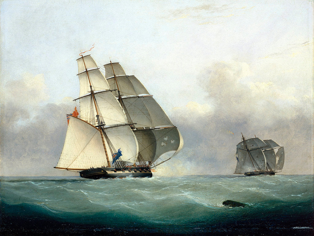 Detail of The capture of the Slaver 'Gabriel' by HMS 'Acorn', 6 July 1841 by Nicolas Matthew Condy