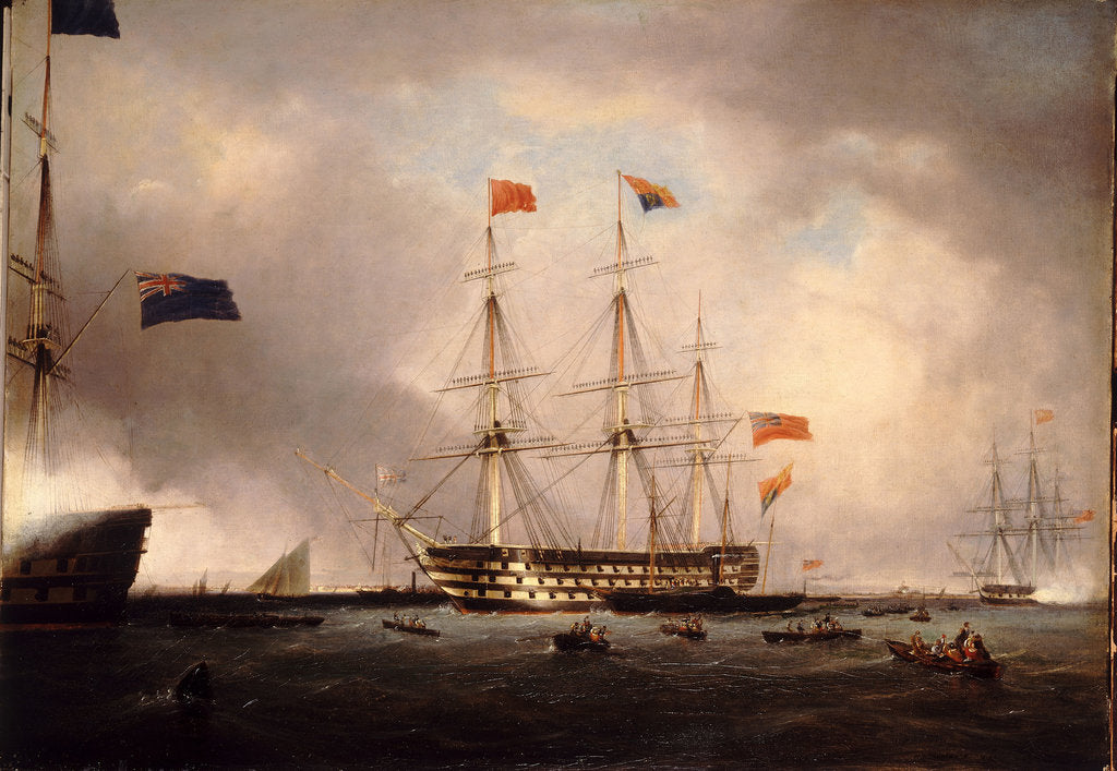 Detail of Queen Victoria's visit to HMS 'Queen' at Portsmouth, 1 March 1842 by Robert Strickland Thomas