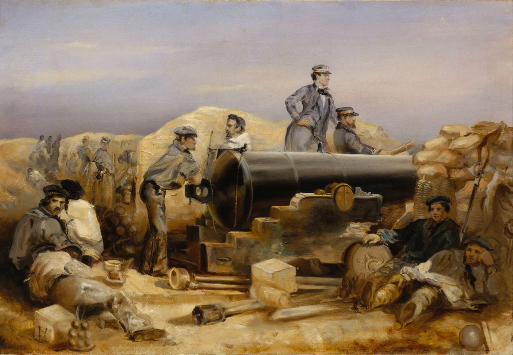Detail of The 'Diamond' battery at the siege of Sebastopol, 15 December 1854 by William Simpson