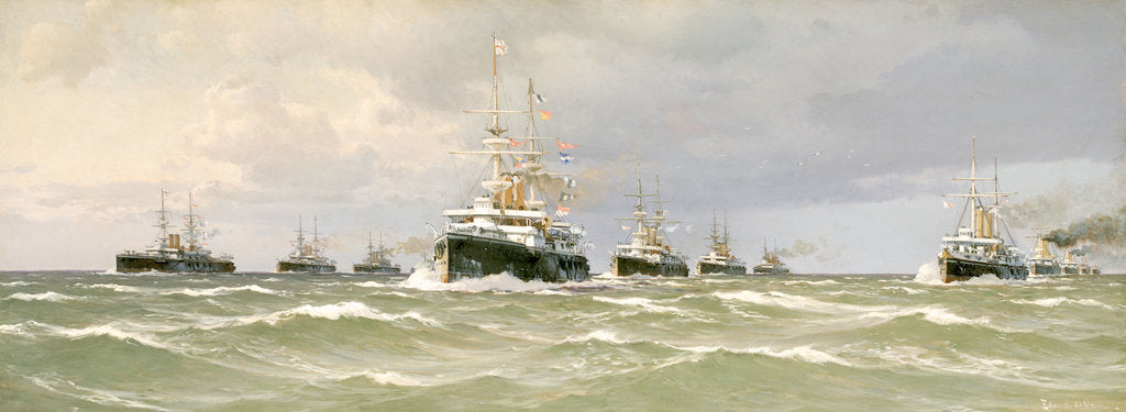 Detail of The Channel squadron, 1898 by Eduardo de Martino