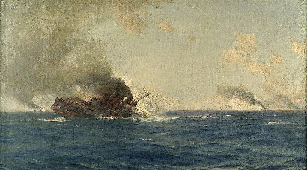 Detail of Sinking of the 'Scharnhorst' at the Battle of the Falkland Islands, 8 December 1914 by Thomas Jacques Somerscales