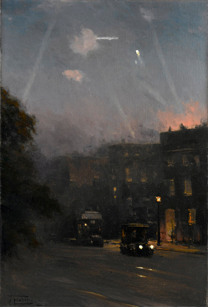 Detail of A Zeppelin raid, 8 October 1915 by John Fraser