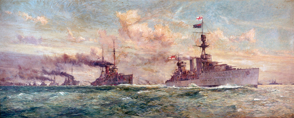 Detail of HMS 'Cardiff ' leading the  German High Seas Fleet to surrender in the Firth of Forth, 21 November 1918 by Charles Dixon