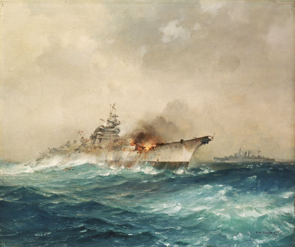Detail of The sinking of the 'Bismarck', 27 May 1941 by Charles E. Turner
