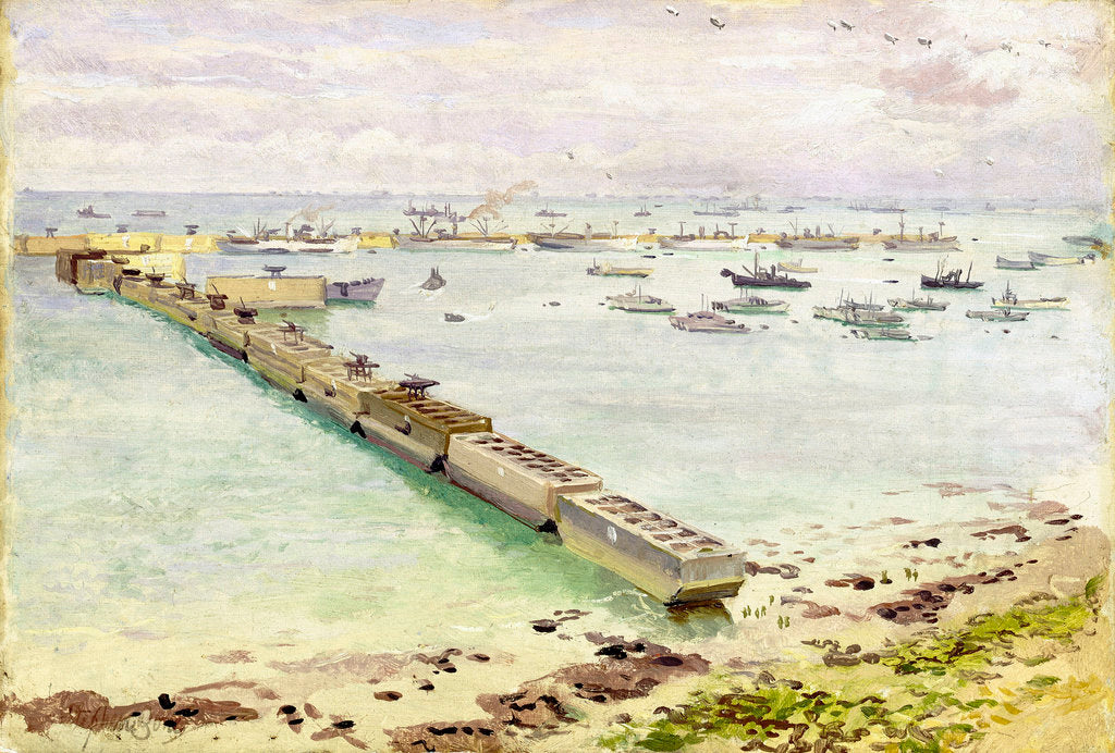 Detail of Mulberry harbour, Arromanches: Normandy landing, June 1944 by Stephen Bone