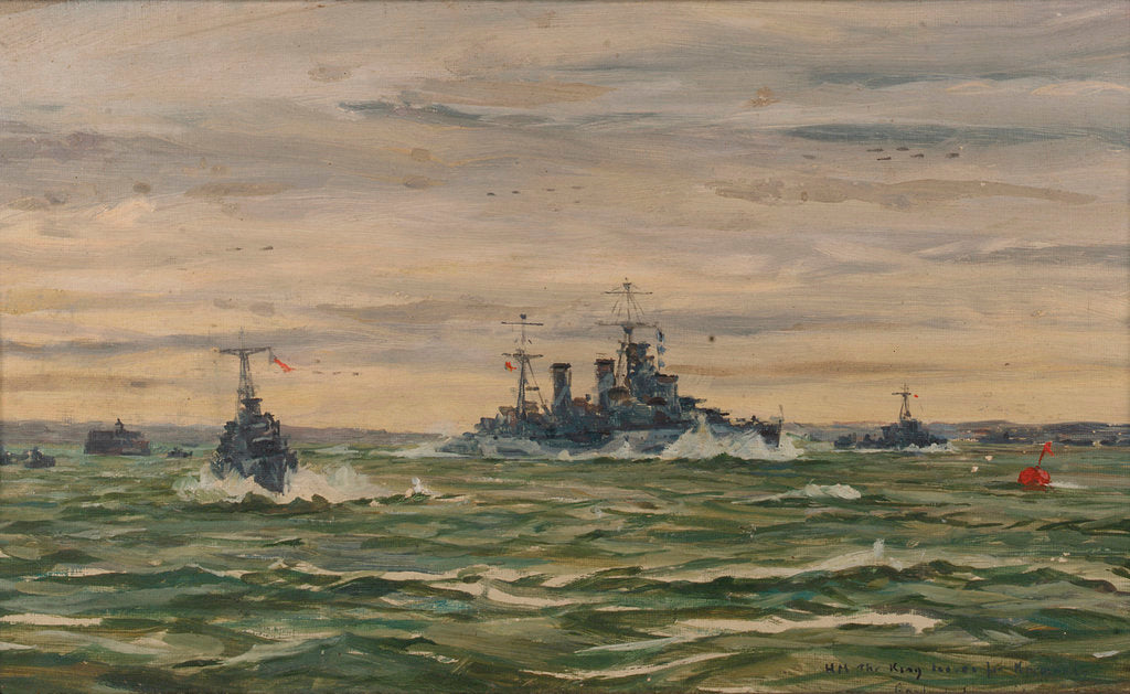 Detail of His Majesty the King leaves for Normandy in HMS 'Arethusa', 16 June 1944 by Lieutenant-Commander Rowland John Robb Langmaid