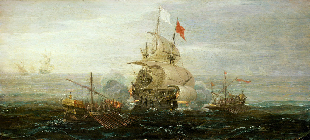Detail of A French ship and barbary pirates by Aert Anthonisz
