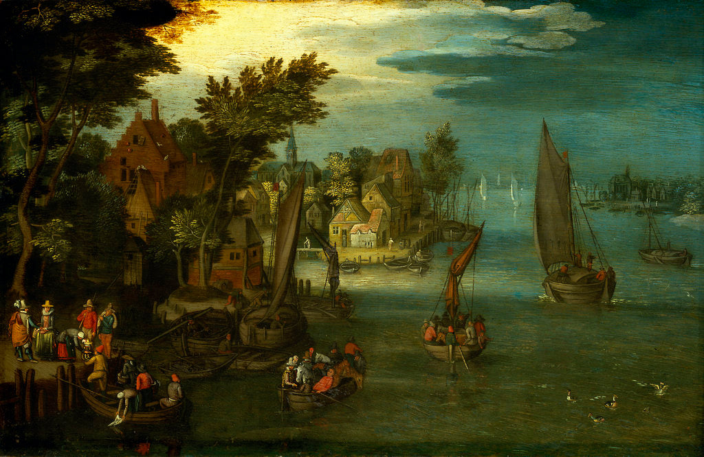 Detail of A busy river scene with Dutch vessels and a ferry by Jan Brueghel the Elder