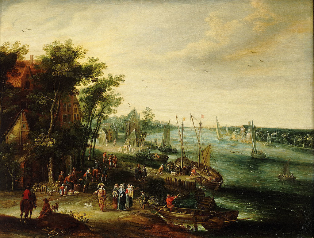 Detail of A landscape with a village on the bank of a river by Jan Err:520 Brueghel the Elder