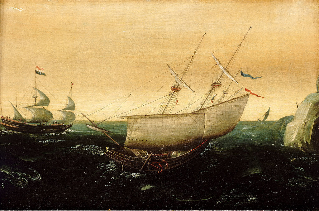 Detail of A Dutch ship close-hauled by Aert Anthonisz