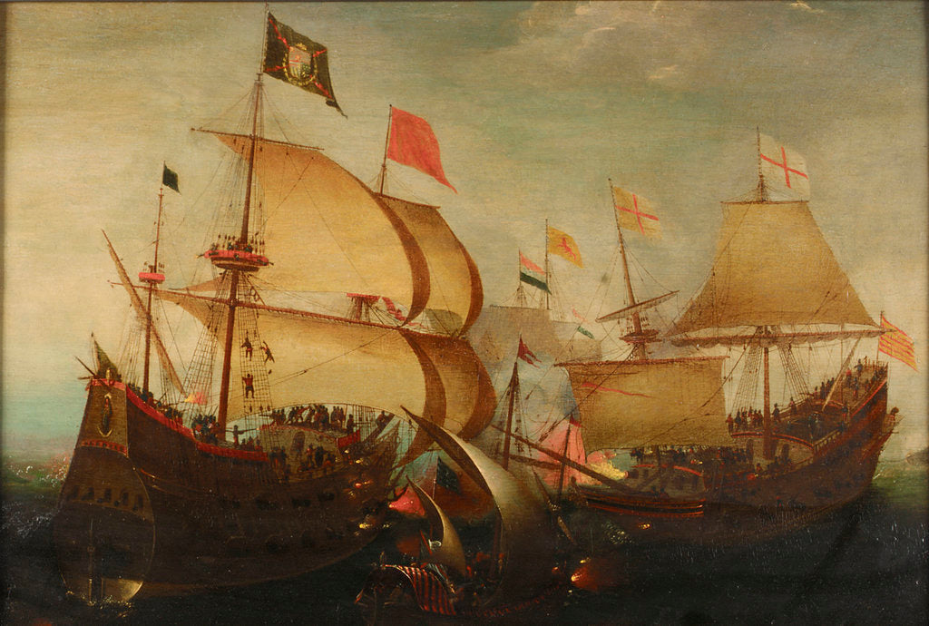 Detail of An English and a Dutch ship attacking a Spaniard by Aert Anthonisz