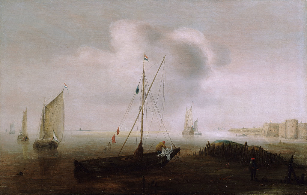 Detail of A fishing boat with sail lowered near the shore by Hans Goderis
