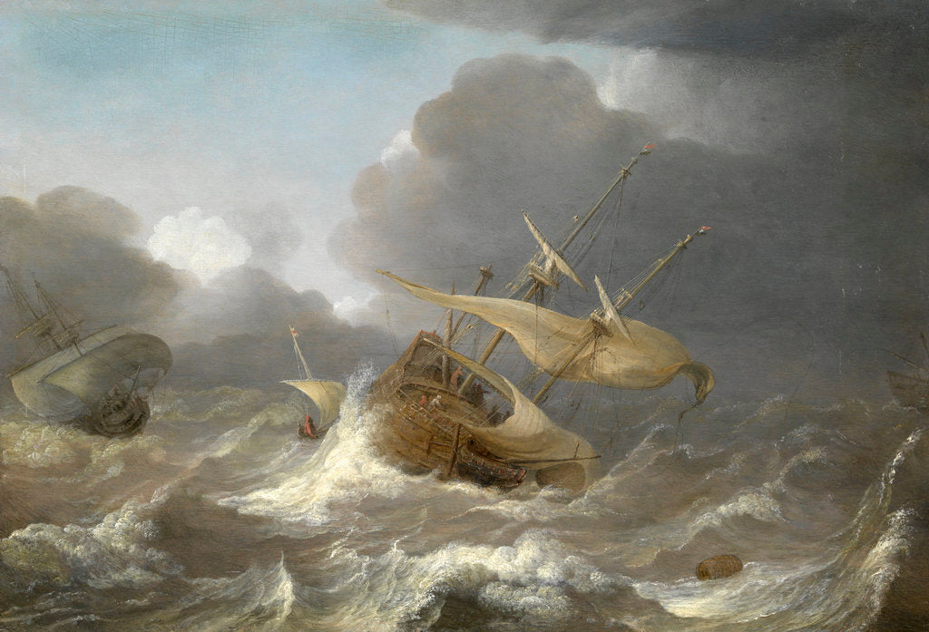 Detail of Dutch ships in a gale by Jan Porcellis
