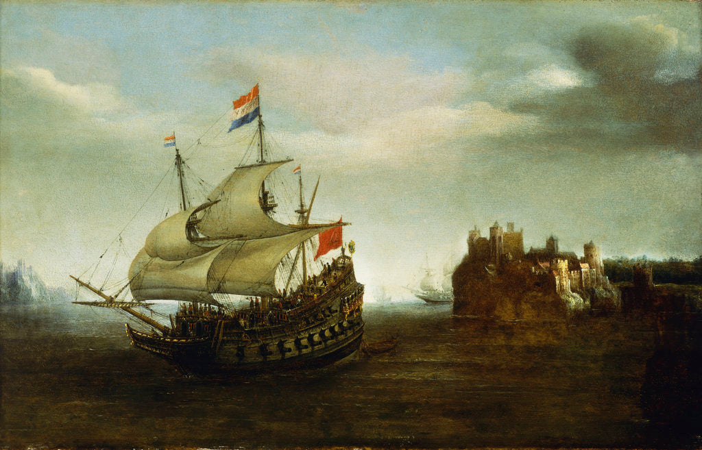 Detail of A castle with a Dutch ship sailing nearby by Hendrick Cornelisz Vroom