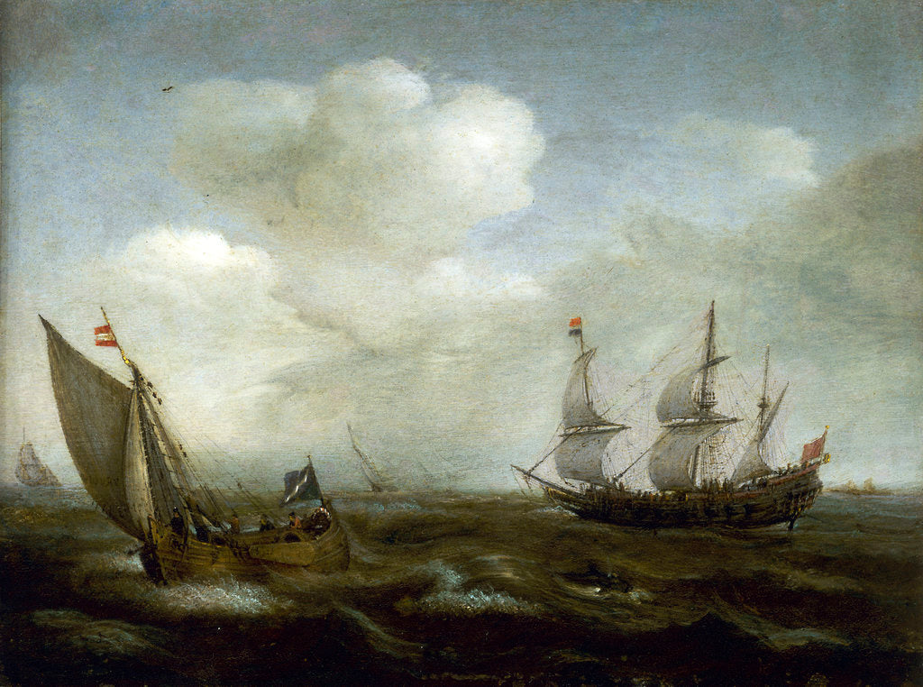 Detail of A Dutch ship and fishing boat in a fresh breeze by Hendrick Cornelisz Vroom
